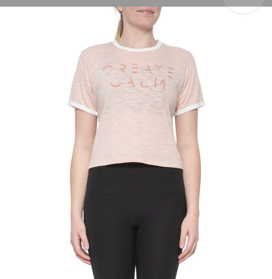 New Balance Pink Cropped Evolve Create Calm Athletic Tee NWT Large