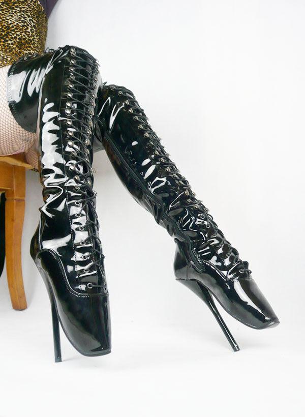 PVC noir overknee High Ballet Bottes, High Heals, sexy démarrage 18CMS 7