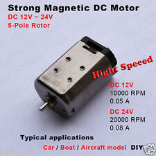 DC12V 24V 20000RPM High Speed Strong Magnet 5-Pole Rotor Motor RC Car Boat Toy