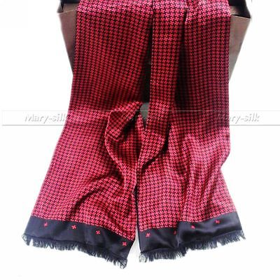 "Mens 100% Silk Long Scarf/Cravat Double Layer Red 63""X12"" ●W80#"