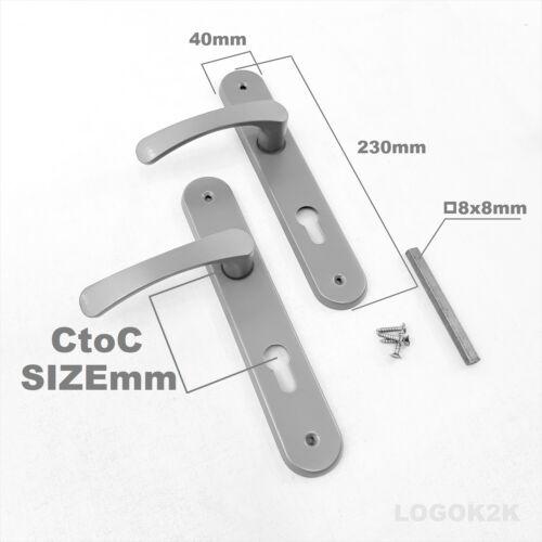 TOILET handle   WHITE Lever On LONG Plate Door Handles C to C 72mm WC