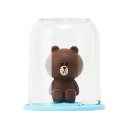 New Line Friends Brown Bear Figure /& Bath Gargling Clear Cup Set