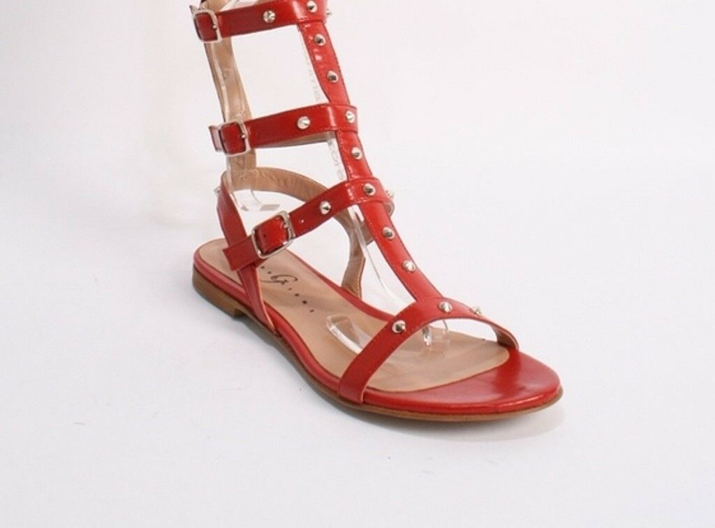 Gibellieri L632 Red Leather Studded Amazon Gladiators