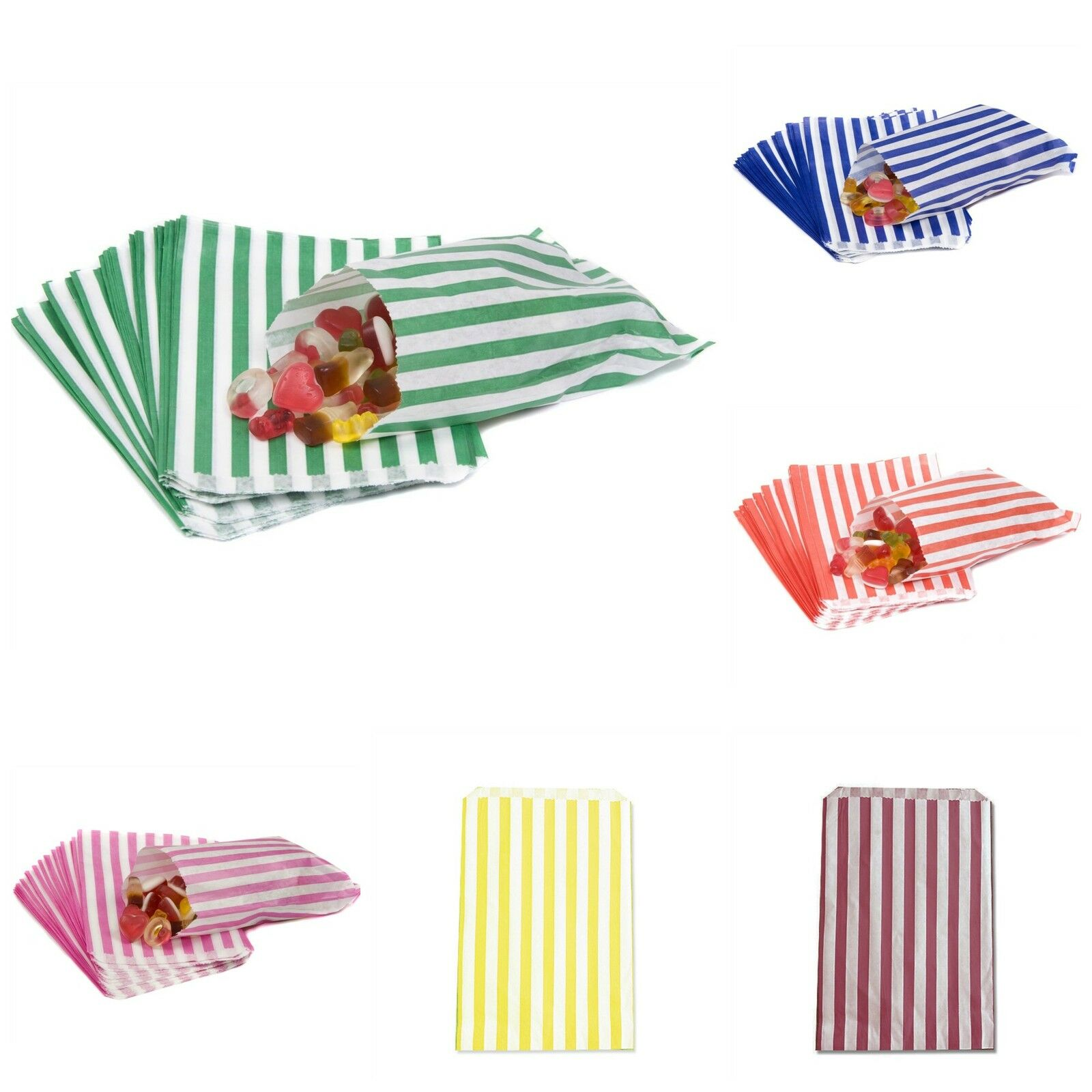 5x7 INCHES 200 x CANDY STRIPE PAPER SWEET FAVOUR BUFFET BAGS