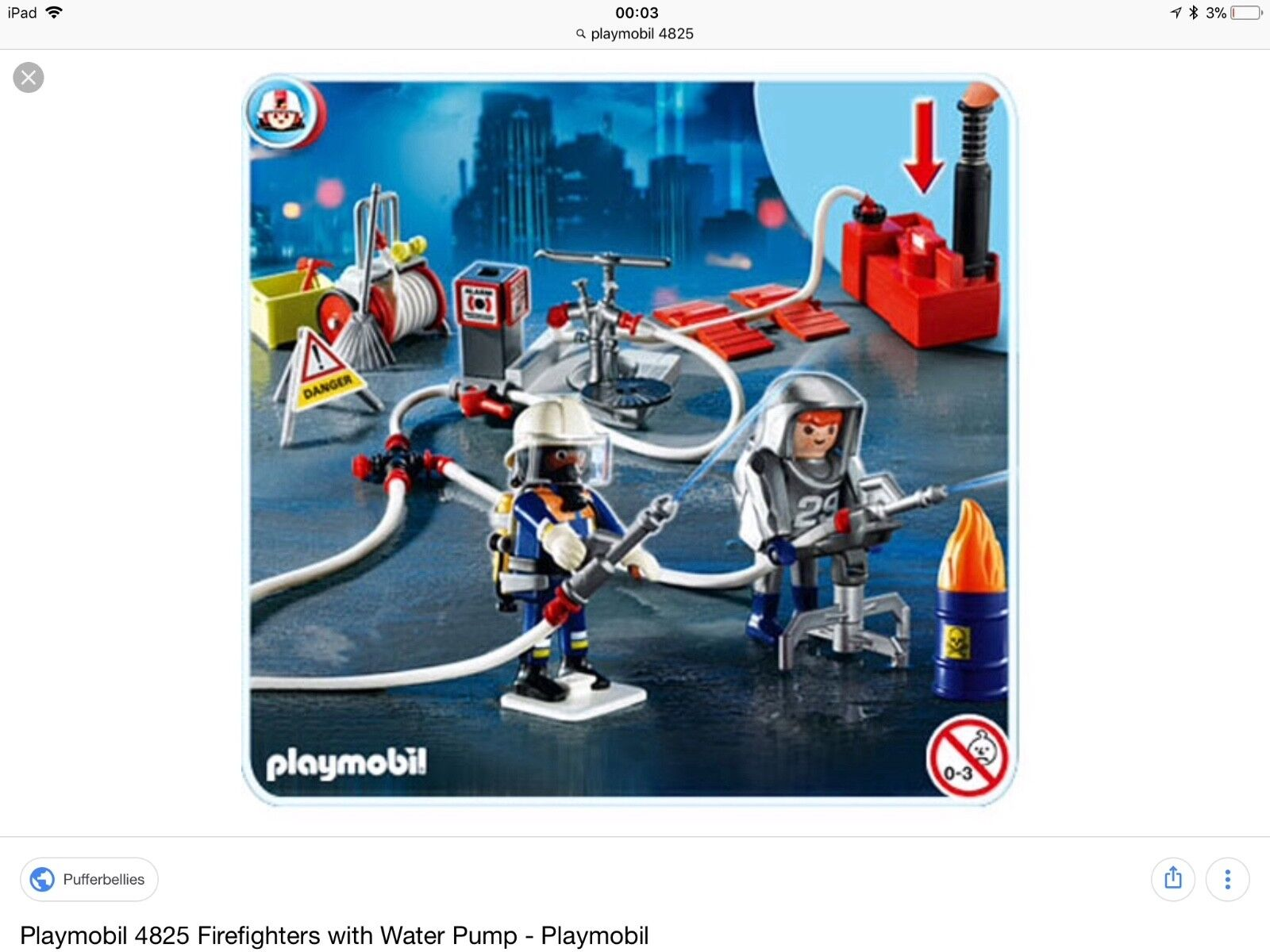 Playmobil 4825 Firefighters with Water Pump