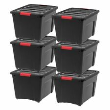 IRIS 53 Qt Stack & Pull Storage Lidded Container Box Bin System, Black (6 Count)