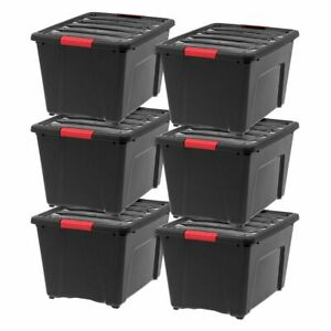 IRIS-53-Qt-Stack-amp-Pull-Storage-Lidded-Container-Box-Bin-System-Black-6-Count