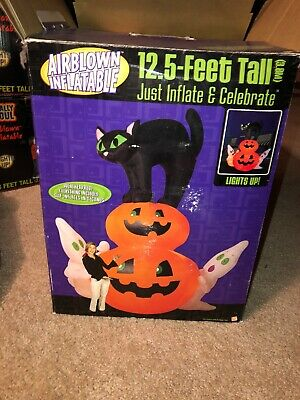 12 5 Ft Airblown Inflatable Gemmy Cat Sitting On Pumpkin Rare Htf Bnib Ebay