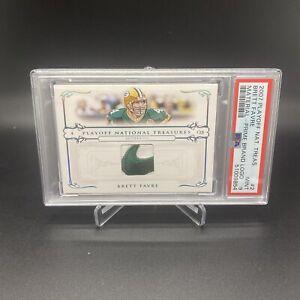 2007 National Treasures BRETT FAVRE GAME USED NIKE SWOOSH LOGO /10 PSA 9 🔥POP 1
