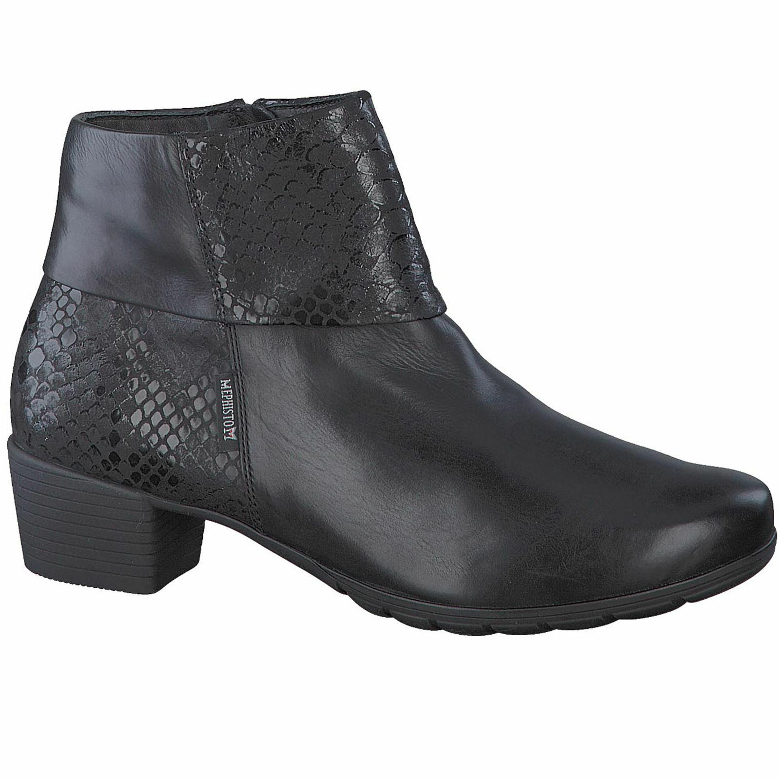 Mephisto Iris Black Womens Leather Zip-up Ankle Boots