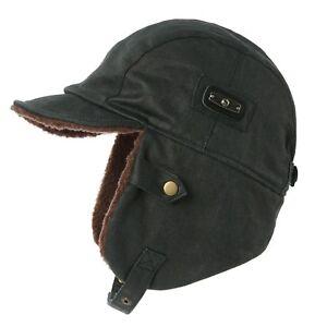 e1de09f70 Details about Siggi Aviator Hat Faux Leather Pilot Cap Adult Men Winter  Trooper Trapper Hun...
