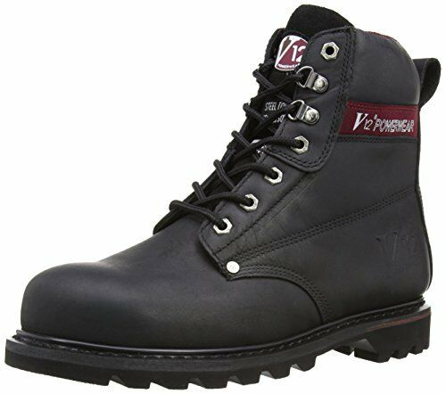 V12 Boulder, Black Hide Derby Safety Boot, 09 EU, Black
