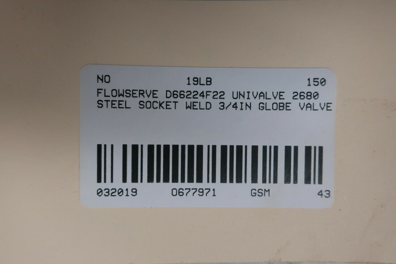 FLOWSERVE D66224F22 Manual Steel Socket Weld Globe Valve 2680 1IN