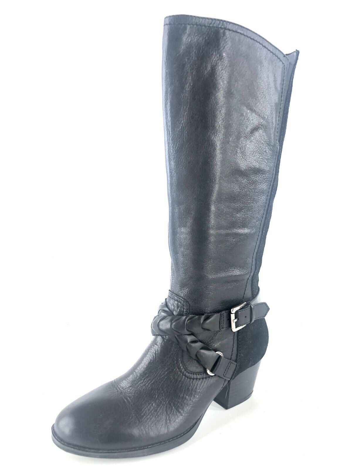 Earth Orchard Buckle Leather Black Boots Knee High Size 7.5 M