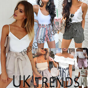 UK-Womens-High-Waisted-Paper-Bag-Tie-Belt-Shorts-Ladies-Summer-Holiday-Pants