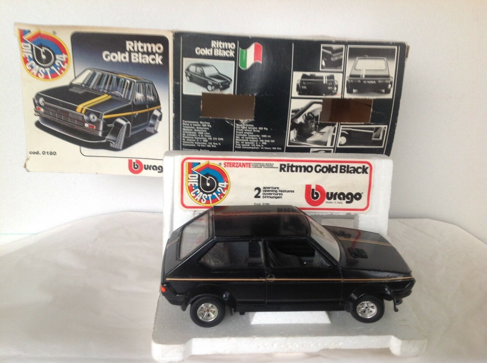 BURAGO N° 0180:  FIAT FIAT FIAT RITMO GOLD BLACK NEUVE en BOITE 1/24   2019  628439