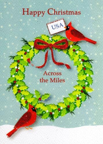 Happy Christmas USA Across The Miles Xmas Card Glitter Finished Greeting Cards