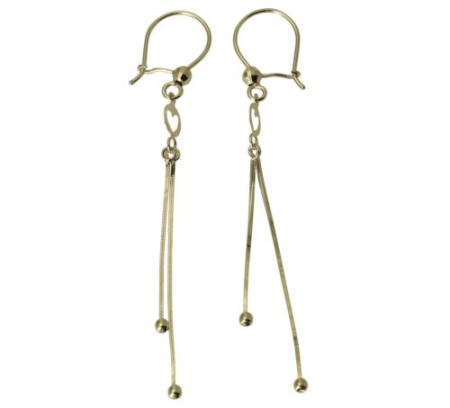 14K Solid Real White Gold Fancy Heart Dangle Hanging Earrings for Woman