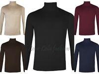 Mens Roll Necks Jumpers Fine Knit Polo Necks Plain Tops Winter Ski Golf Quality