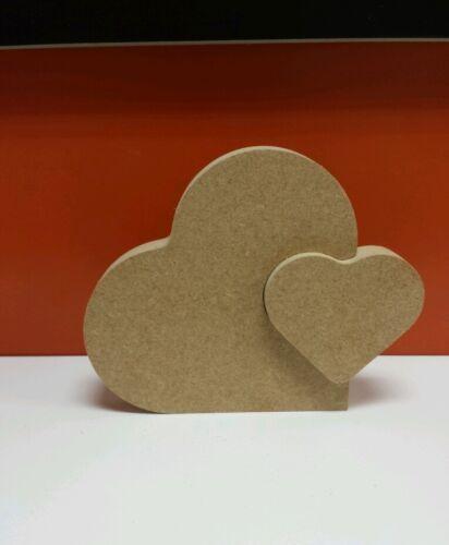 Free Standing Mdf 18mm Heart in Heart 15cm x12.5cm interlocking