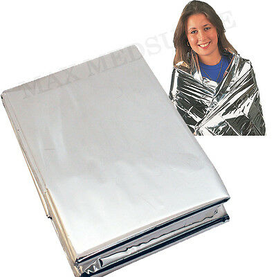 2x Premium FOIL Thermal Emergency BLANKET, First Aid Waterproof Camping Survival