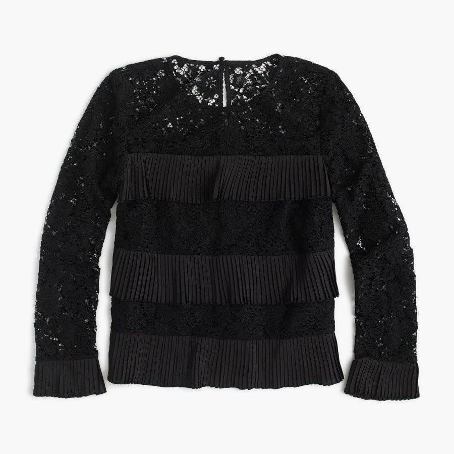 J. Crew  H3100 SOLD-OUT Woman's Tiered Blk Lace Top w Fringe Pleats NWT 16 Tall