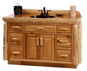 Custom rustic cedar wood log cabin lodge bathroom vanity cabinet 48 72 inch ebay - Custom wood bathroom cabinets ...