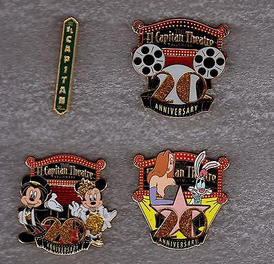 DISNEY PIN El Capitan Theatre 20th Anniversary 4 pin SOLD OUT Set 300 EHTF Pins