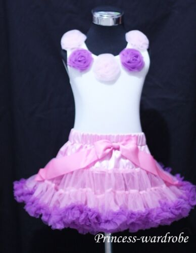 Pink Purple Pettiskirt Tank Top Dance Tutu Set M123
