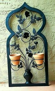Details About Black Wrought Iron Wall Hanging Planter With Two Flower Pots