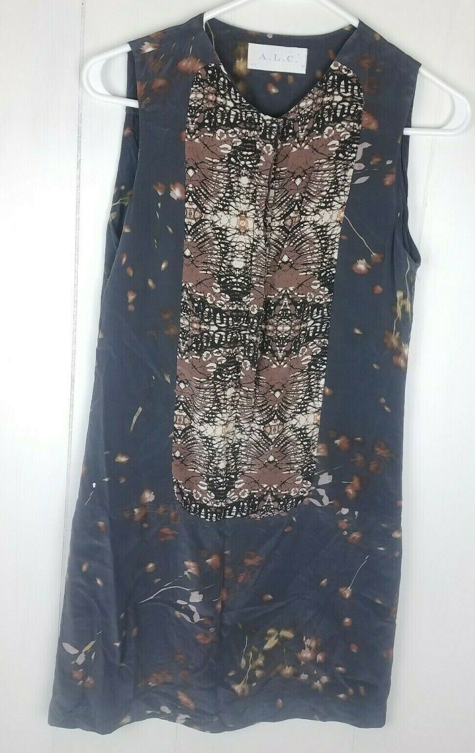 A.L.C Sera Tux Dress damen Größe 2 Silk Sleeveless Batik Blau braun