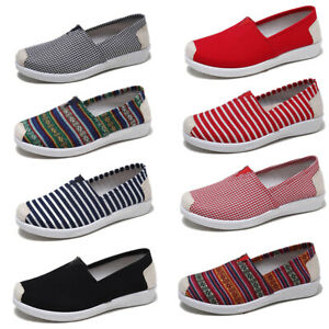 Women-Canvas-Loafers-Boat-Shoes-Flats-Casual-Walking-Slip-on-Sneakers-Multicolor