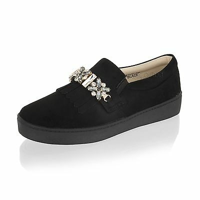 Mujer de las Señoras Zapatillas Slip on Flat Bombas de arco tenis zapatos talla 3-8