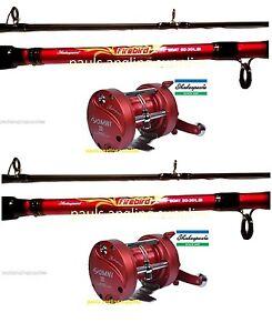 2 x shakespeare firebird omni rh boat fishing rod multiplier reel