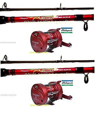 2 x Shakespeare Firebird Boat Fishing Rods Multiplier Boat Reel Sea Fishing 20lb