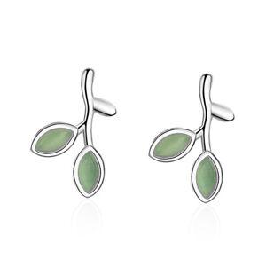 Solid-925-Sterling-Silver-Green-Opal-Leaf-Ear-Stud-Earrings-Lady-Fashion-Jewelry