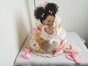 3 Tier Pink Gold Little Princess Diaper Cake Baby Shower Gift