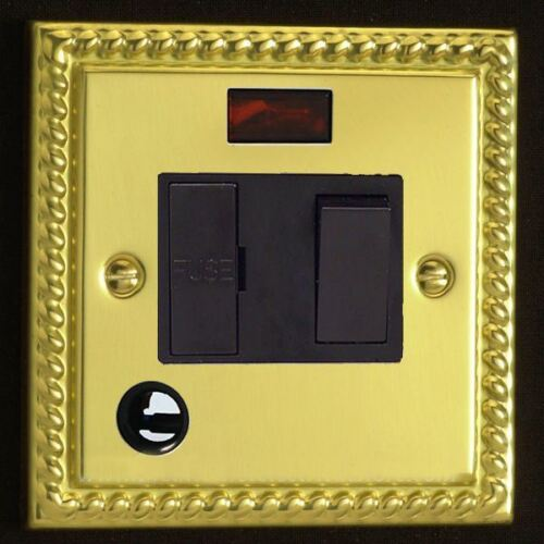 Flex Outlet Georgian Brass Varilight 13 A Noir Switched Fused Spur Néon