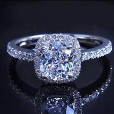 Engagement 3ct Topaz Diamonique 925 Silver filled Women Wedding Ring Sz 6/L Gift