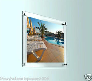 plexiglas klar fotorahmen acryl wand montage plakat bildhalter display ebay. Black Bedroom Furniture Sets. Home Design Ideas