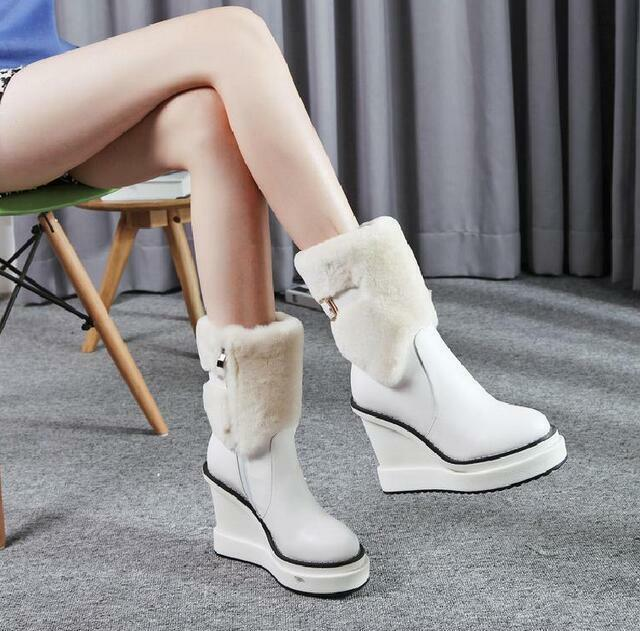 Women Women Women Winter Snow Anke High Heel Boots Leather Fur Warm Casual Brushed shoes NEW f82fb4