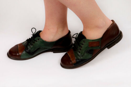 30 S 40 s VINTAGE Patch Work Leather Brogues by Mayer GREEN & BROWN afficher le titre d'origine