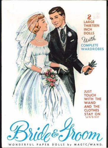 VINTAGE 1960S BRIDE GROOM PAPER DOLLS ~PRETTY LASER REPRODUCTION~ORIG SIZE UNCUT