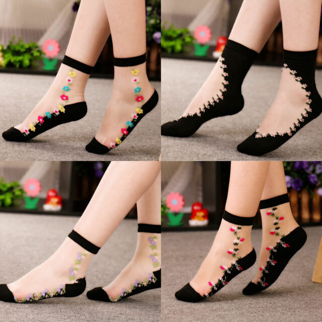 Sexy Thin Transparent Black Lace Floral Ruffle Ankle Socks Women Crystal Socks