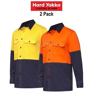 Mens-Hard-Yakka-Long-Sleeve-Work-Shirt-2PK-Hi-Vis-Cotton-KoolGear-Summer-Y07730