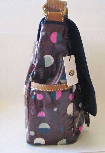 NEW FOSSIL KEYPER MESSENGER TOTAL ECLIPSE CANVAS PVC PURPLE LAPTOP+CROSSBODY BAG