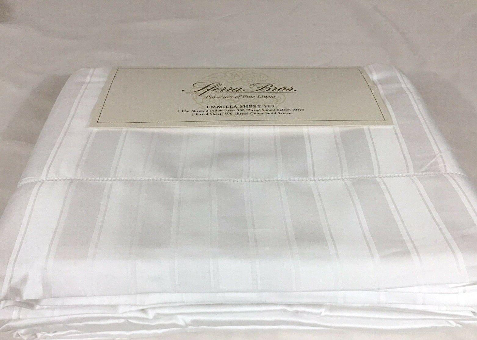 Sferra Emmilla KING Sheet Set Egyptian Cotton Jacquard Sateen 500TC 2Ply White