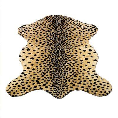 "CHEETAH RUG FAUX FUR ANIMAL SKIN PELT RUG 3x5 (39"" x 55"") NEW  - MADE IN FRANCE"