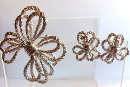 VINTAGE SILVER CHRISTMAS BOW BROOCH & MATCHING EARRINGS ESTATE JEWELRY FAB!