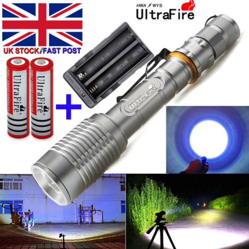 Tactical 90000LM  Zoomable T6 LED Flashlight Torch Rechargeable Battery Charger